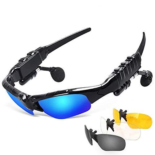 WYQF Bluetooth Brille Headset Musik Stereo Sonnenbrille Headset Hören von Songs Sonnenbrille (Klavierlack Schwarz)