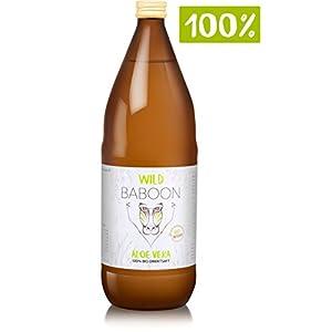 Wild Baboon Premium Aloe Vera 100% Bio Direktsaft, 1200mg Aloverose, DE-ÖKO-006, 1L Trinkgel