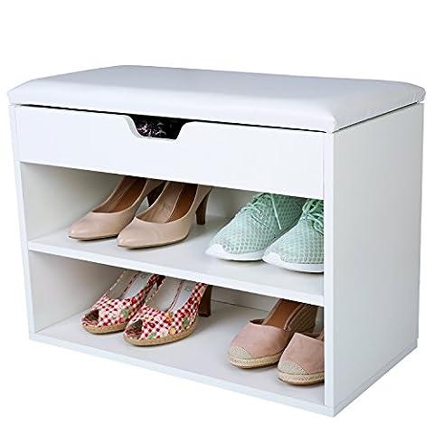 TRESKO® Schuhschrank für 6 Paar Schuhe mit Sitzgelegenheit, Klappdeckel und wasserdichtem Sitzkissen, Schuhregal, Schuhbank mit Sitzkissen, Sideboard mit Sitzfläche, Sitzbank mit Aufbewahrung für Flur, Wohnzimmer, Badezimmer oder für Schuhe, aus Holz,