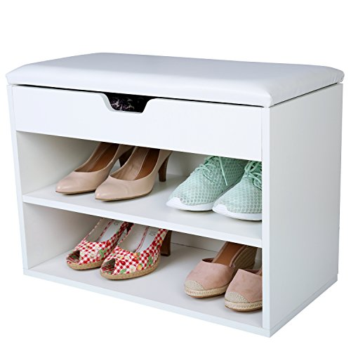 Tresko® scarpiera per 6 paia di scarpe con possibilità di seduta / libreria con cuscino lavabile, scarpiera, panca con cuscino, credenza con possibilità di seduta, scarpiera con deposito per il corridoio, salotto, bagno o per scarpe, fatto in legno, bianco