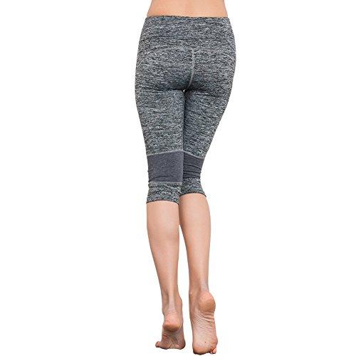 EXIU Femmes Taille haute Fitness YOGA Sport Short Capri stretch Guêtres Gris foncé