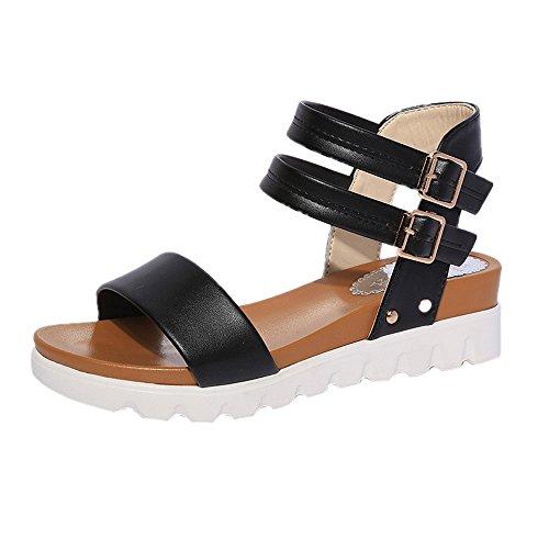 TianWlio Sandalen Damen Sommer Mode Einfache Sandalen Leder Flache Sandalen Schuhe Schwarz 39