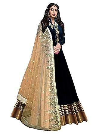 Haresh Khatri Black Bangalore Silk Anarkali Semi-Stitched Suit