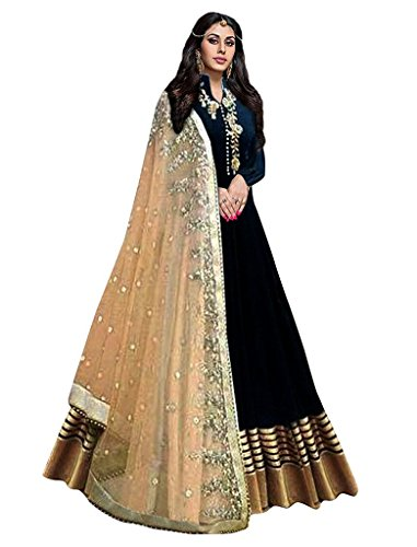 Haresh Khatri Black Bangalore Silk Anarkali Semi-Stitched Suit
