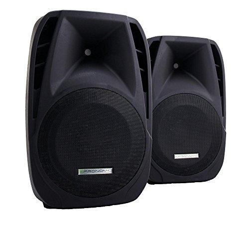 2x Pronomic PH15 Bühnen- und Konzertlautsprecher PA-Lautsprecher (passive ABS PA-Boxen, 15 Zoll, 38 cm, 700W, Rollen) schwarz -