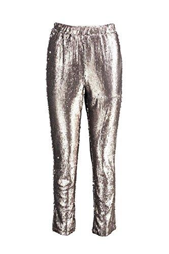 Silber Damen Boutique Loren Schmal Geschnittene Hose Mit Pailletten Silber