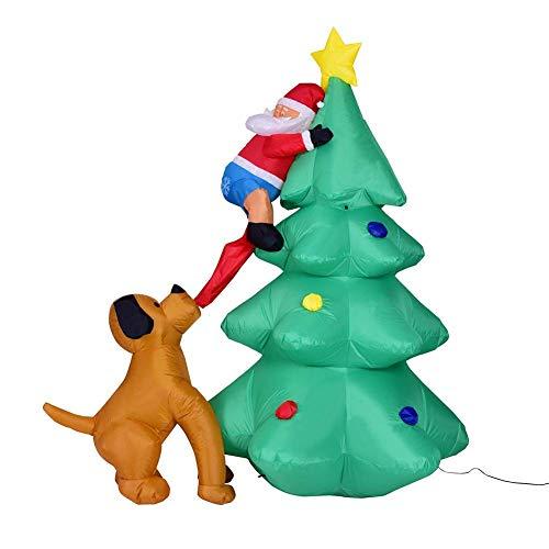 Weihnachtsbaum Aufblasbares Kostüm - Weihnachten Licht Aufblasbarer Weihnachtsbaum 180cm, LED Beleuchtung Deko Inflatable Hund Beißen Weihnachtsmann Dekoartikel, Weihnachtsdekoration Hausgarten Dekorationen