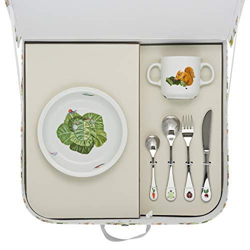 DEGRENNE 231762 Les Amis du Potager Valisette avec assiette creuse ronde + mug + 4 couverts, Multicolor