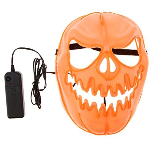 Homyl Kunststoff EL Kürbis Maske Leuchtende Maske Cosplay Maske für Halloween und Karneval, 3 Licht Modus Verstellbar