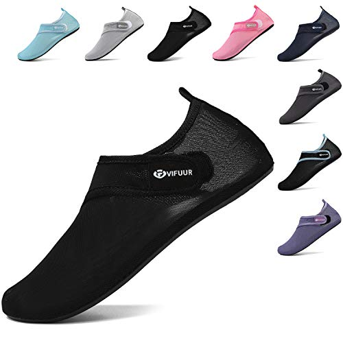 VIFUUR Femmes Hommes Chaussures de Sport Nautique Chaussettes en Maille réglable Aqua Yoga Pieds Nus pour Piscine...