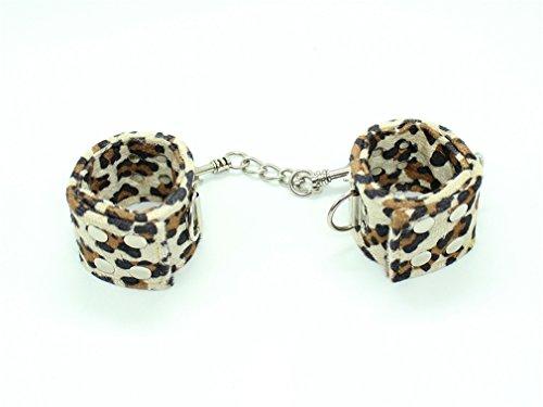 Wiftly Adultes Menottes de Pied et Main S&M Bondage Réglable en Cuir de Leopard de camouflage Cosplay (Main)