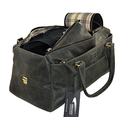 Menzo Handgepäck Reisetasche aus echten Leder mit 2 Zipper, (schwarz) schwarz