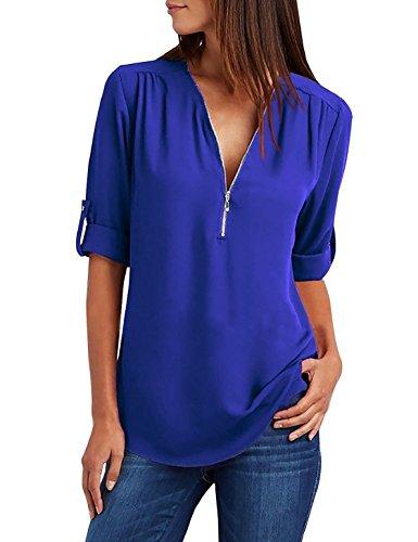 tuopuda Blusas Camisetas de Gasa Ropa de Mujer Camisas Manga Ajustable Blusas Top (M, Azul)
