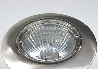 10er-Set Halogen-Einbauleuchten PRO 230V - Farbe: Edelstahl gebürstet - dimmbar, schwenkbar - inkl. Halogen-Leuchtmittel von EU - Lampenhans.de