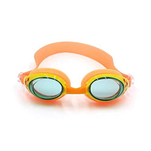 YHYZ Kinder Schwimmbrille Anti-Fog wasserdicht Anti-UV mit Ohrstöpsel für Kinder ab 3 Jahren, orange grün