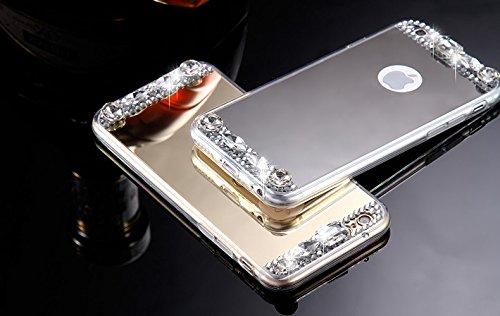 KISSCASE Diamond Mirror Case Handmade Rhinestone Crystal Acrylic Cover for Apple iPhone 7 Plus-Silver