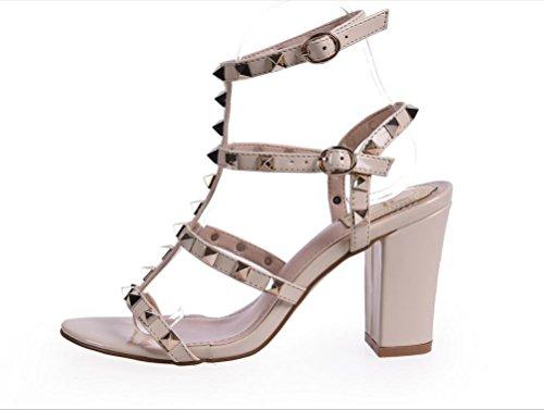 YCMDM WomenBig Code Chaussures à talons hauts Rainbow Sandales Rivet épais Sandals Couleur Rose Noir Abricot 39 36 35 38 37 40 apricot