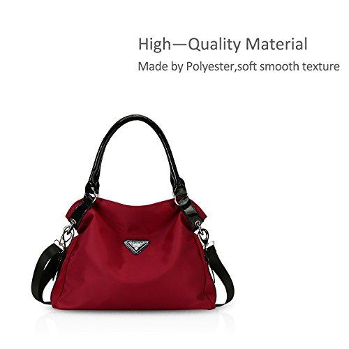 NICOLE&DORIS Neue Mode Damen Handtaschen Umhängetasche Tasche Crossbody Groß Tasche Nylon Schwarz Rot A