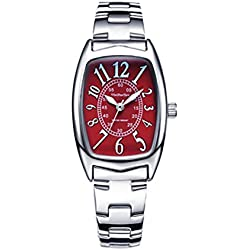 Leisure Retro Tonneau-Shaped Stainless Steel Strap Quartz Wrist Watch For Women,Red-Silver