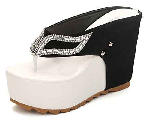 12cm 2018 In the summer The new Lady's cool diamond wedge Thong sandals Taller and slimming women's shoes. White 6 (Womens Up Strap Me)