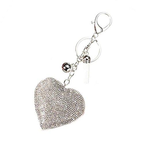 Bodhi2000 Fashion Dazzling Rhinestone Heart Shape Pendant Charm Handbag Keychain Bag Keyring Key Chain Gift (White)