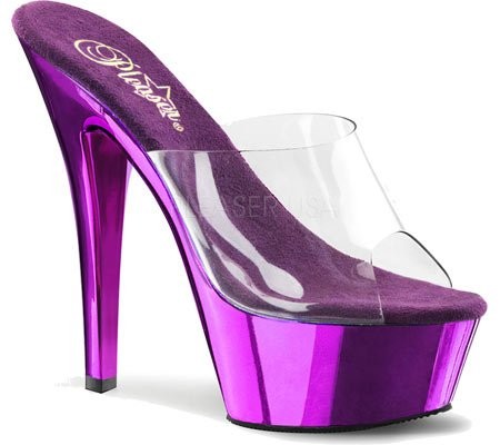 Pleaser KISS-201 Damen Sandalen Clr/Purple Chrome