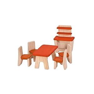 Plan Toys - Juego de muebles de madera para dormitorio de casa de muñecas
