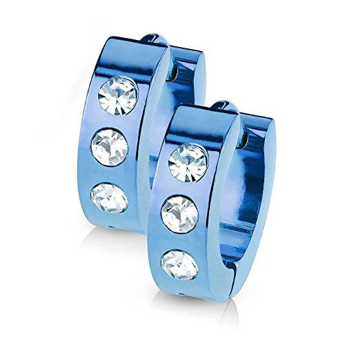 Bungsa blaue CREOLEN mit KRISTALL-STEINEN SET - blaue EDELSTAHL Klappcreolen - Klapp-Ohrringe blau mit 3 gefassten klaren Steinen - für Damen & Herren - 1 Paar Blue Kristall Kreolen