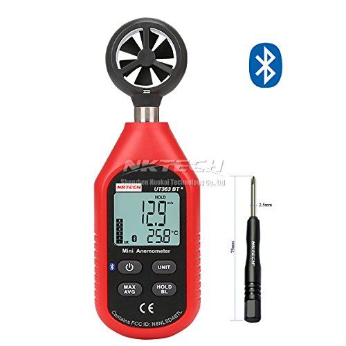 nktech ut363bt Bluetooth Digital Anemometer Gauge Wind Speed Temperatur Meter MAX/MIN Wetter Daten Kollektion für Outdoor Windsurfen Segeln Surfen Angeln mit tl-1 Schraubendreher (Wetter Meter Anemometer)