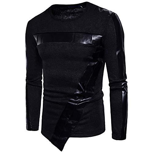 SXZG Herbst und Winter Neue Herren Pullover Herren High Street Zauber Leder 7 Wort schrägen Saum Herren Pullover Pullover
