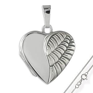 HausderHerzen.de Herz Medaillon925 Silberzum öffnen für Bildereinlage/ 2 Fotos.Wahlweise mit oder ohne Kette