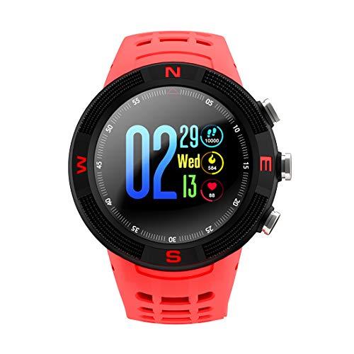 WFDD Fitness Tracker, 1,3 Zoll 3D-Sphärische Touchscreen GPS wasserdicht Bluetooth Herzfrequenz Tägliche Aktivitäten Smart Armband,Red