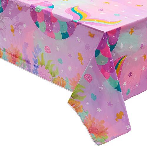 Meerjungfrau Tischdecke - 4 STÜCK 132 x 220 cm Meerjungfrau Thema Partyzubehör Einweg Kunststoff Tischdecken für Mädchen Kinder Geburtstags Baby Shower Hochzeitsfes Tischschmuck ()