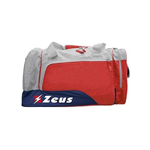 Zeus Herren Sporttasche Schultertasche Fußball Umhängetasche BORSA ISCHIA 36X26X64 cm (GRAU-ROT-BLAU) GRAU-ROT-BLAU