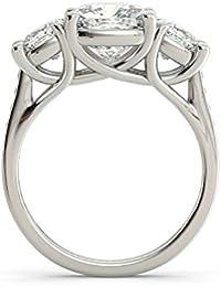 Tres Piedra Diamond 3.12 ct cojín de corte redondo 14 K oro blanco anillo de compromiso, boda, todos los UK tamaño J…