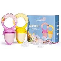 Chupete Mordedor de Frutas/Alimentador Antiahogode Comida de Bebés(2 unidades) - Momcozy Chupetes Teteros para Bebés o Niños pequeños, con Sonajero, libre de BPA