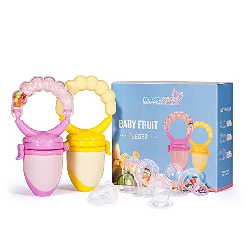 Momcozy Fruchtsauger Baby Schnuller Food Feeder (2 Stück), Silikon-Zahnungsspielzeug, Zahnschnuller, Beißring für Kleinkinder, mit Rassel & BPA Frei