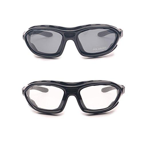 Motorrad-Brillen, polarisierte, klare Gläser, 2 Stück, Herren damen unisex, 2 Pairs