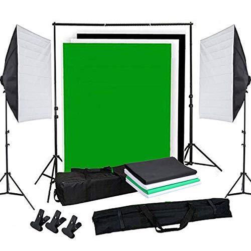OUBO Profi Fotostudio Set Tageslichtlampe Studiosets Greenscreen Set Fotoleinwand Hintergrund inkl. 50 * 70cm Dauerlicht Softbox 4X Hintergrundstoff(Schwarz, weiß*2, grün) Schutztasche (Fotografie Ausrüstung)