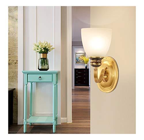 THOR-BEI Schlafzimmer-Nachttischlampe Vollkupfer-Wandleuchte Wohnzimmer Moderne minimalistische klassische Gangflur TV-Wandleuchte Beleuchtung Einzelkopf-Wandleuchte LED [Energieklasse A + +] -624Wand -