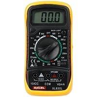 Excel XL830L - Dispositivo con funciones de voltímetro, ohmímetro, amperímetro, color negro y amarillo
