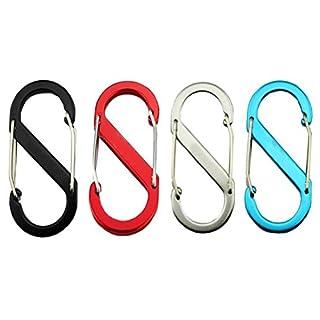 S Karabiner, alohha 4S Form Karabiner Outdoor Equipment Schnell Aufhängen Schnalle Metall für Schlüsselanhänger Key Ring und Rucksäcke, Camping und Reisen Wandern