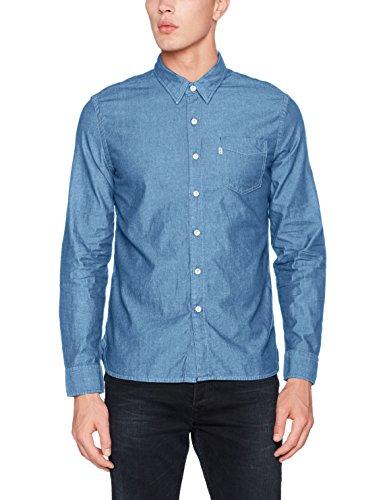 Levi's sunset 1 pocket shirt, camicia casual uomo, blu (flat stone 315), medium