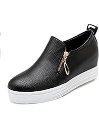 Easemax Damen Rund Toe Dicke Sohle Plateau Keilabsatz Loafer Slipper Schuhe Schwarz 40 EU M5ui4wL