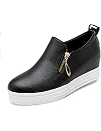 Easemax Damen Rund Toe Dicke Sohle Plateau Keilabsatz Loafer Slipper Schuhe Schwarz 40 EU