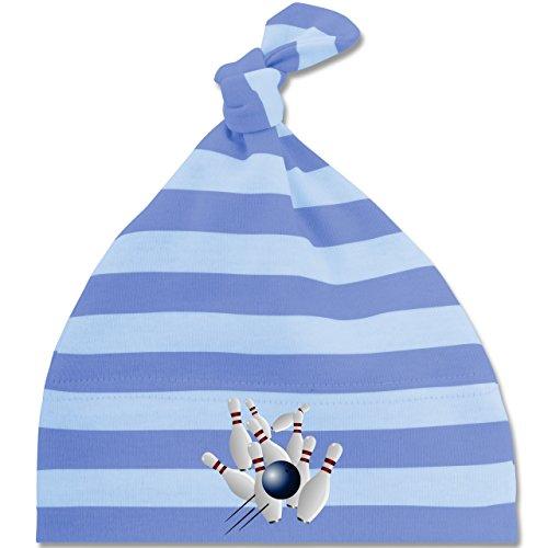 Sport Baby - Bowling Strike Pins Ball - Unisize - Blau/Babyblau - BZ15S - gestreifte Baby Mütze mit Knoten / Bommel für Jungen und (Bowling Pin Hat)