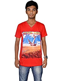 revin red with blue colour graphic tshirt