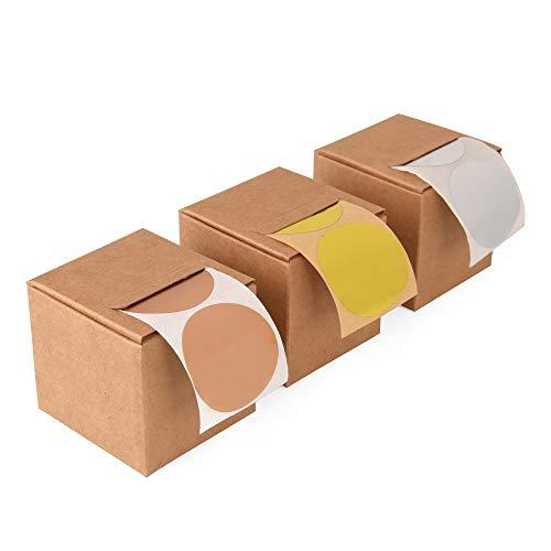 ewtshop® 3 x 50 Stück Dots Punkte runde Aufkleber Sticker, Gold, Bronze, Silber, Durchmesser 4 cm
