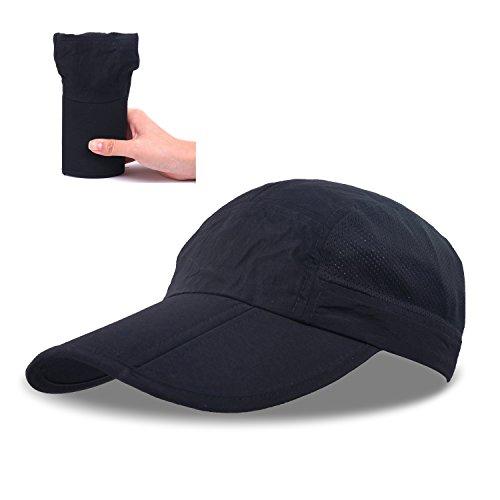 ZEARE Schnell Trocknende wasserdichte Breathable Hut-faltende Baseballmütze Sonnenhut-leichte Fernlastfahrer-Hut-Sport-Kappe Unisex (Schwarz)