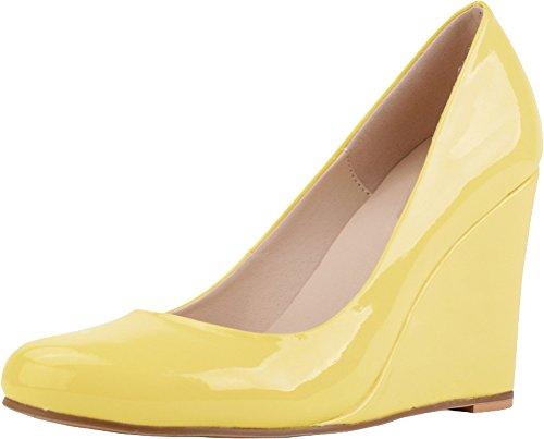 CFP , Damen Durchgängies Plateau Sandalen mit Keilabsatz , gelb - gelb - Größe: 38